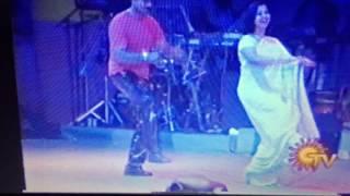 Radikaa and Sarathkumar at Mega Star Night 2001 Dance