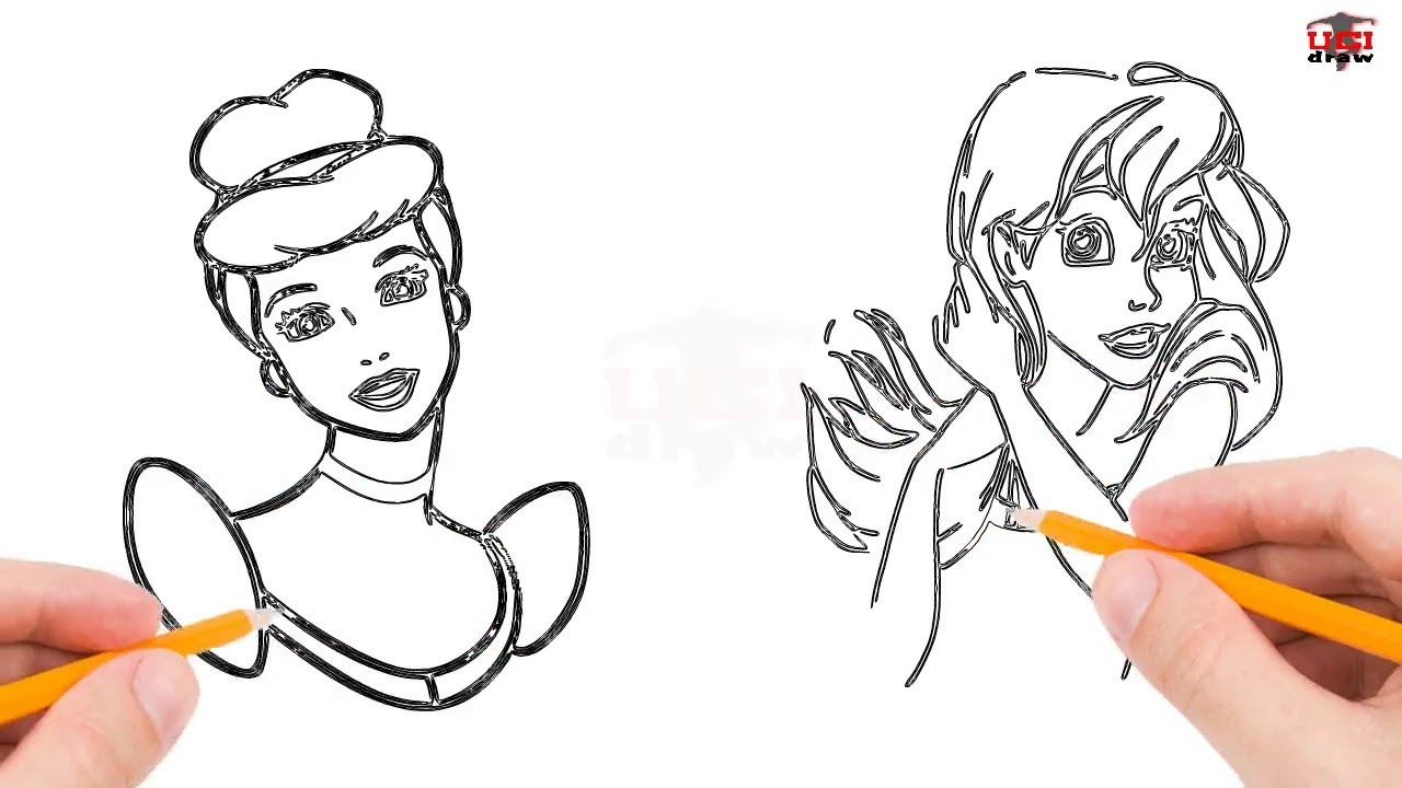 How To Draw Disney Princesses Step By Step Easy Simple Princess Drawing Tutorial Youtube