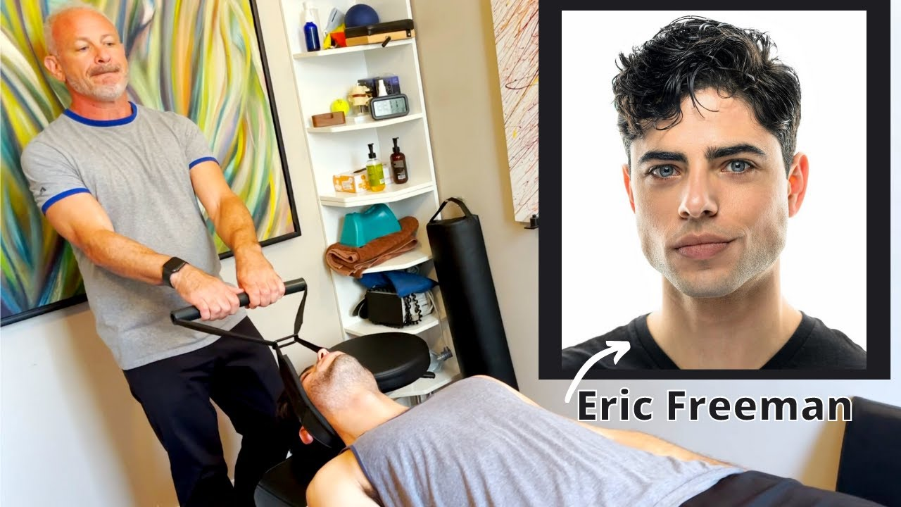 BIG Y-STRAP and OCCIPITAL LIFT on NYC ACTOR ~ ASMR RELIEF!