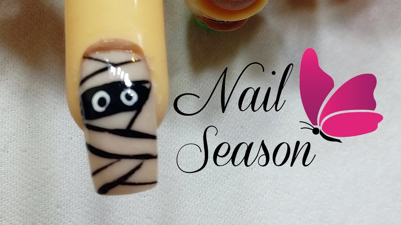 U as decoradas halloween momia paso a paso 2017 mummy nail - Decoracion halloween 2017 ...