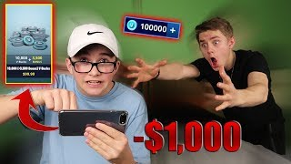 LITTLE BROTHER SPENDS $1000 ON FORTNITE WITH MY CREDIT CARD! (He Bought Every Skin)
