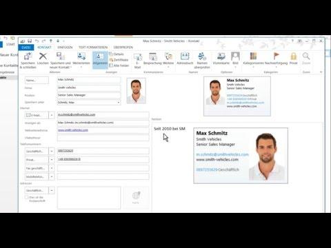 Outlook 2013 Visitenkarten Individuell Anpassen