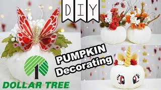 DIY: Dollar Tree Pumpkin Decor (Unicorn, Butterfly, Vase)