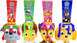 Learn Colors with Paw Patrol Skye & Chase Disney Frozen Bathtime Bath Paint Toys D.I.Y. Blind Bags