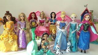 ディズニープリンセス 人形 ラプンツェル アリエル シンデレラ エルサ アナ ベル 白雪姫 オーロラ ジャスミン 開封 Disney Princess Barbie Doll