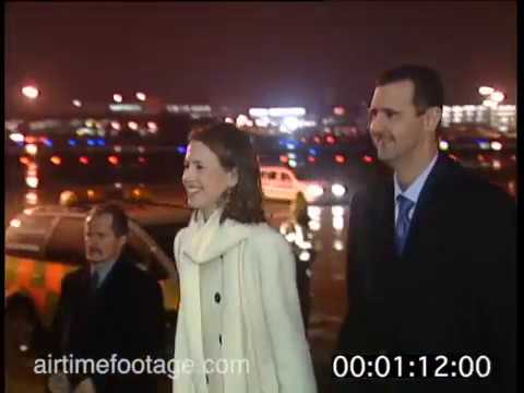 al-Assad and his wife Asma arrive in London - rushes