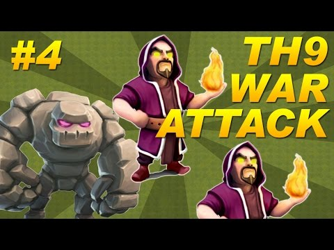 BEST Town Hall 9 (TH9) Clan Wars 3-Star Attack Strategy - Golems + Wizards (Clash of Clans) Part 4