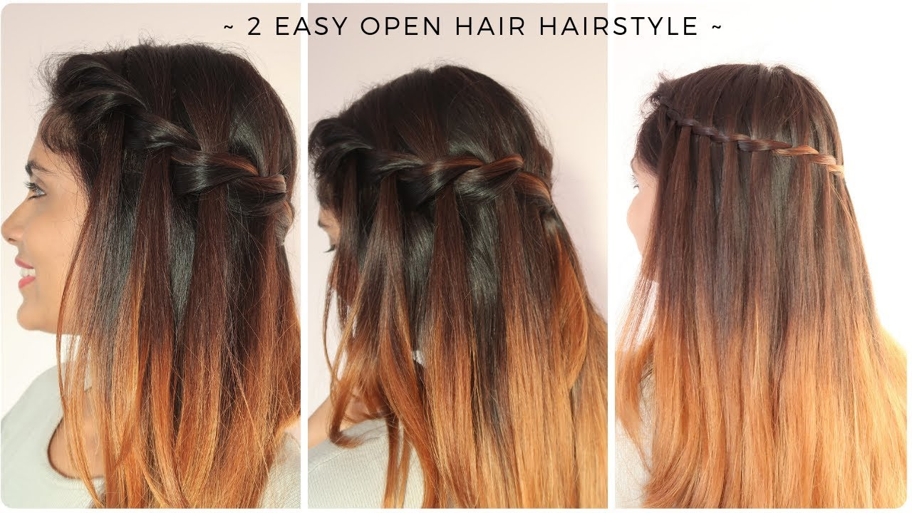 2 easy open hair hairstyle | quick braided hairstyle for medium to long hair