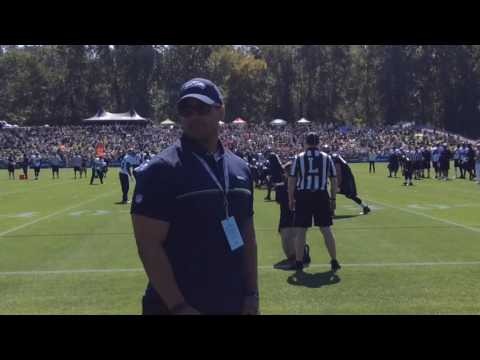 Seattle Seahawks compete in scrimmage during training camp