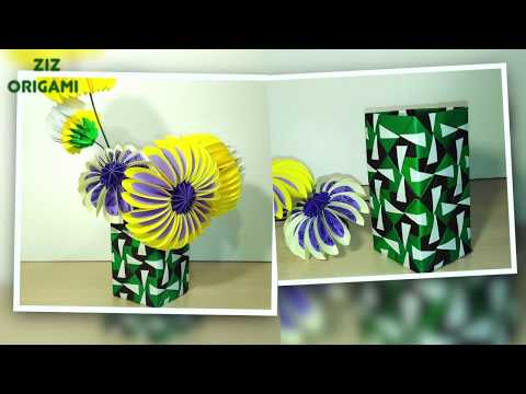 How to make Origami vase (modules). EASY paper vase for Easter DIY decor.