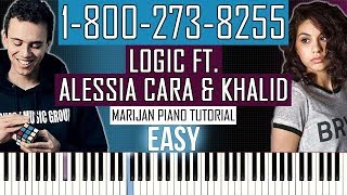 How To Play: Logic ft. Alessia Cara & Khalid - 1-800-273-8255 | Piano Tutorial EASY + Sheets
