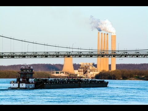 Ohio River Sunset in Fast Frame - Apr-10-2015 - Maysville Kentucky Coal Power