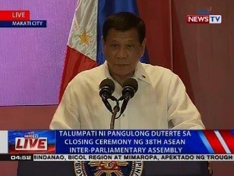 Talumpati ni Pangulong Duterte sa closing ceremony ng 38th ASEAN Inter-Parliamentary Assembly