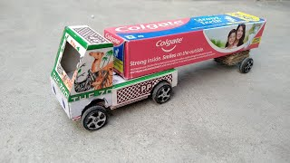 How to make a truck using Colgate box | how to make Paper truck | cardboard craft