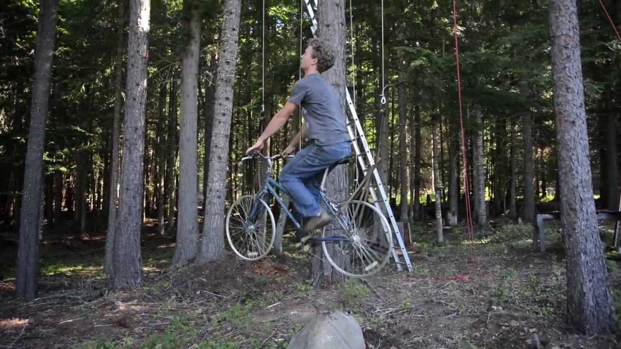 Bicycle Powered Tree House Elevator Youtube