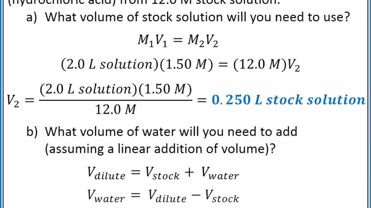 Chemistry 101 Solution Dilutions Youtube