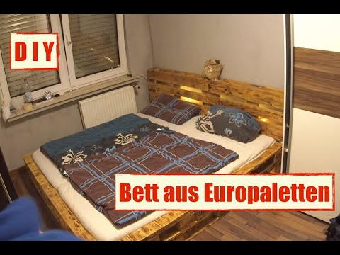 m bel aus europaletten paletten bett mit led beleuchtung diy furniture youtube. Black Bedroom Furniture Sets. Home Design Ideas