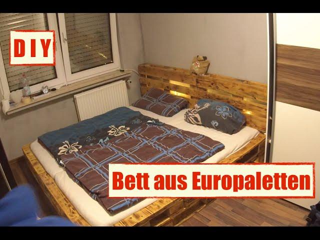 Mobel Aus Europaletten Paletten Bett Mit Led Beleuchtung Diy Furniture Youtube