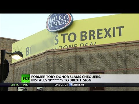 Former Tory donor installs 'b******s to Brexit' sign