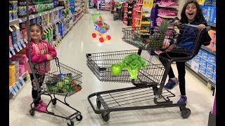 Kids Pretend play Shopping for healthy food and Toys! funny video 2