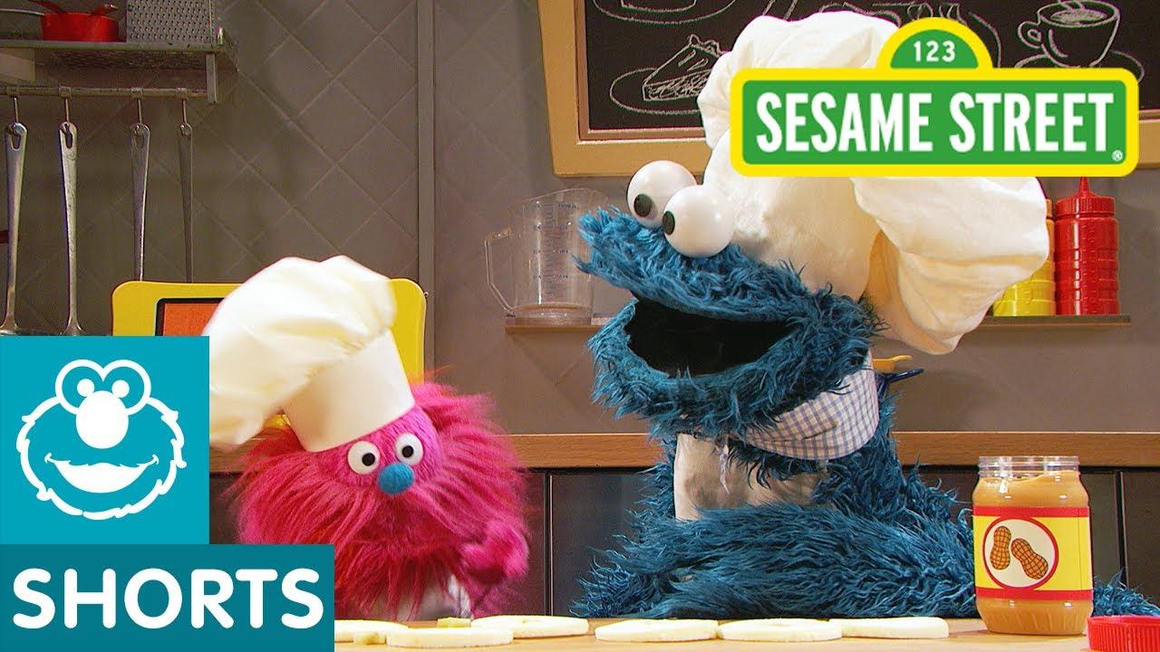 Sesame Street: Apple Slice & Peanut Butter Sandwiches   Cookie Monster's Foodie Truck
