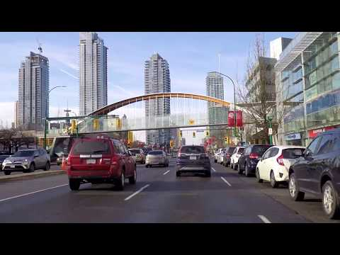 Downtown Burnaby BC Canada - Driving in the City on Kingsway - Metrotown