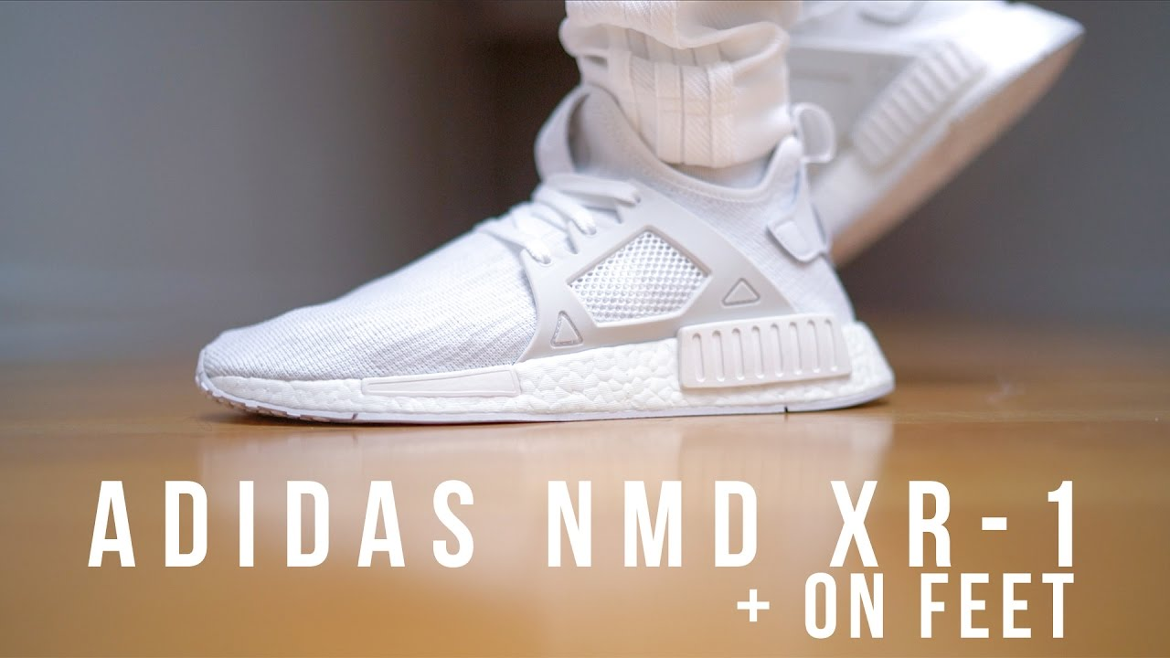 Adidas Nmd Xr1 Triple White On Feet
