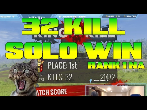 32 Kill Solo Win! (Rank #1 NA) H1Z1