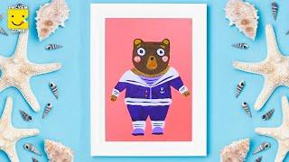 Как нарисовать мишку моряка - урок рисования для детей от 4 лет, гуашь,  рисуем дома поэтапно