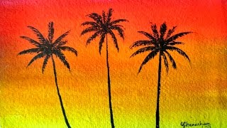 How to paint a sunset with palm trees in watercolor | Paint with david