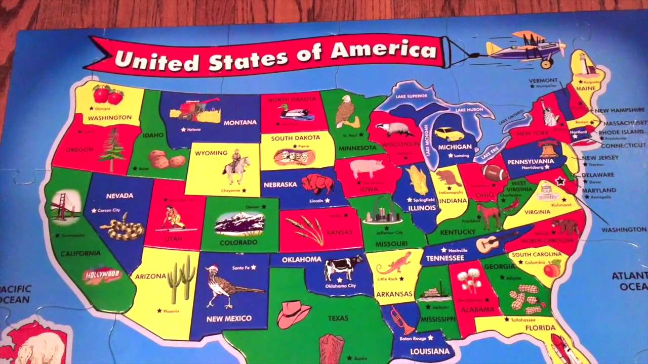 Singing The States With Melissa And Doug USA Floor Puzzle YouTube - Map usa states drag and drop