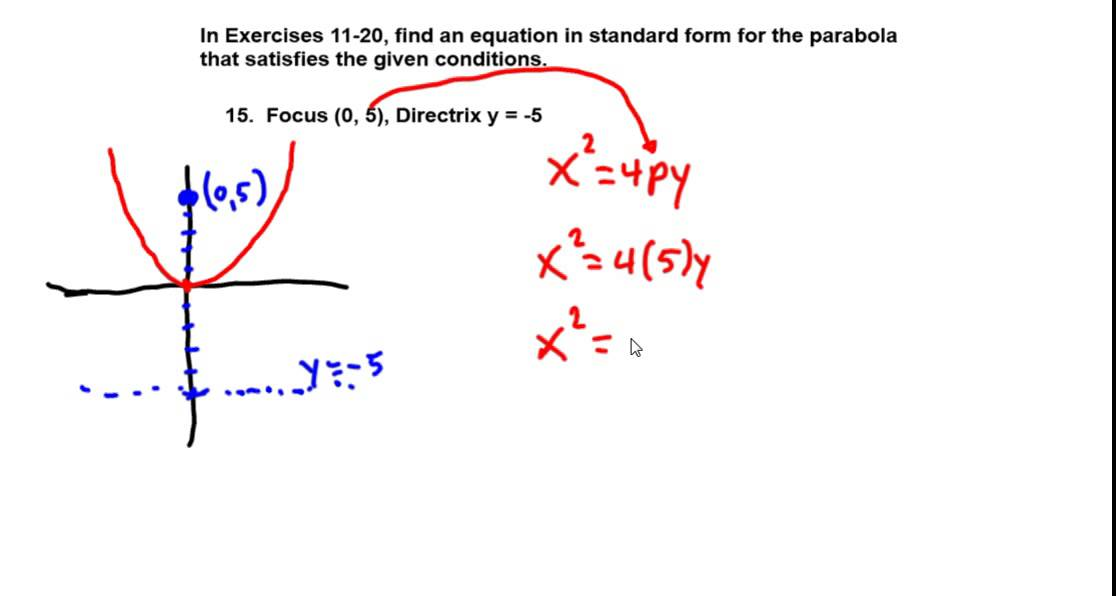 Precalculus Chapter 81 Exercises 11 20 Find Equation Of Parabola
