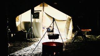 NIGHT TOUR of a HΟT TENT- WINTER CAMPING SET UP