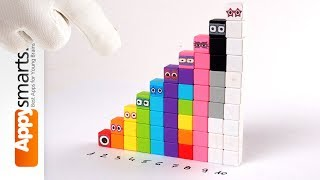 Numberblocks (numbers 1 to 10) made from magnetic cubes (crafts for kids)