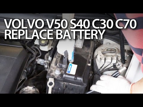 How to replace car battery in Volvo C30, S40, V50 C70 (maintenance service repair)