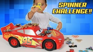 FIDGET SPINNER CHALLENGE!! How Many Can You Spin On Lightning McQueen At Once