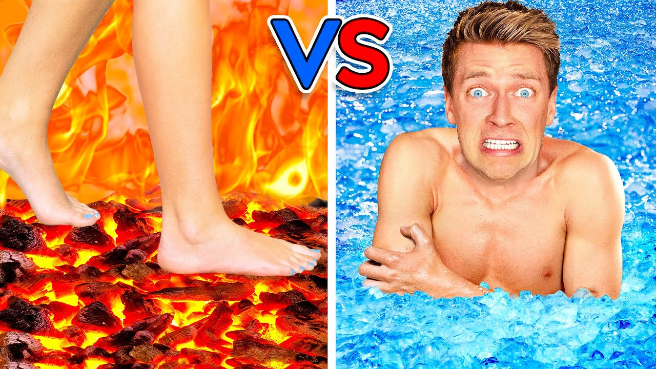 Walk on Fire or Swim Through Ice! Extreme Hot vs Cold Challenge - Last Girl To Leave Icy Pool Wins