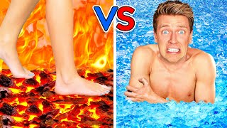 Walk on Fire or Swim Through Ice! Extreme Hot vs Cold Challenge  Last Girl To Leave Icy Pool Wins