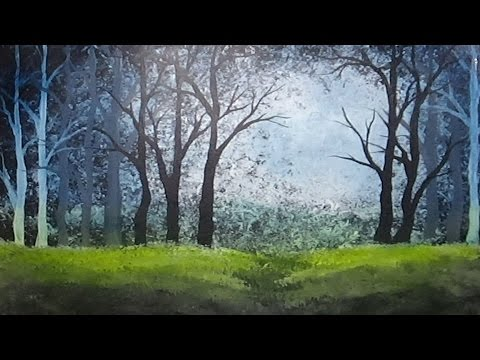 Acrylic painting white gesso forest painting youtube for Painting a forest in acrylics