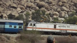 Indian Railway 12295/Sanghamitra SF Express With WAP 7  RPM 30409  Passing through Tyatkal Hill