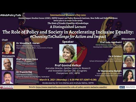 Distinguished Lecture by Prof Govind Kelkar | Role of Society in Accelerating Inclusive Equality