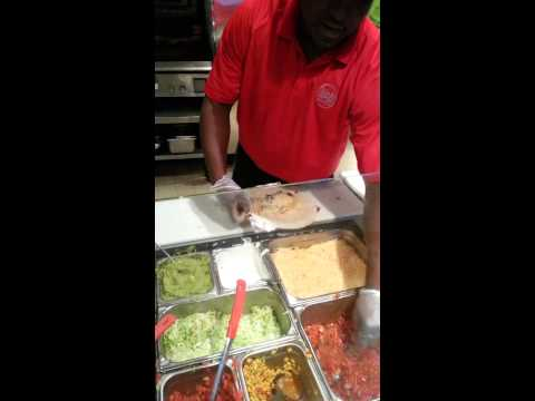 Fix and rolled burrito in 29secs at Moe's Sw Grill