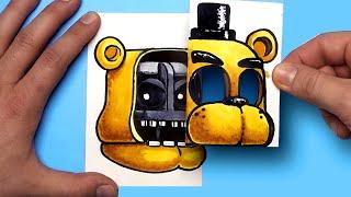 How To Draw An GOLDN FREDDY (FNAF) SURPISE FOLD - CREATE YOUR FNAF ANIMATRONICS
