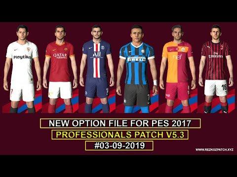 PES 2017 | Option File For Professionals Patch 2019 V5.3 Final