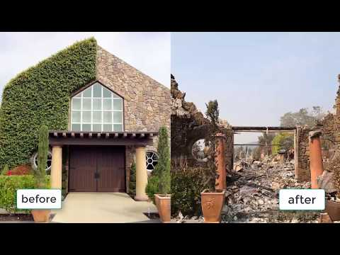 The image before and after the fire in the city of Santa Rosa| santa rosa fire map