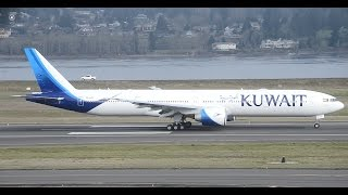 rare kuwait airways boeing 777 300er 9k aoe new livery takeoff from pdx