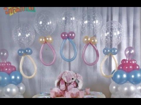 Como hacer adornos con globos para baby shower youtube - Adornos para pared ...