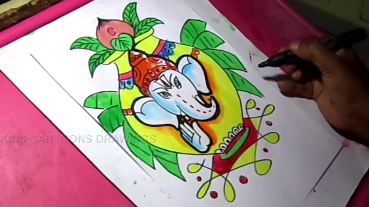 How To Draw Lord Ganesha In Kalasham Color Drawing Youtube