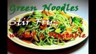 Green Noodles Stir Fry With Beef And Vegetables In Hoisin Sauce