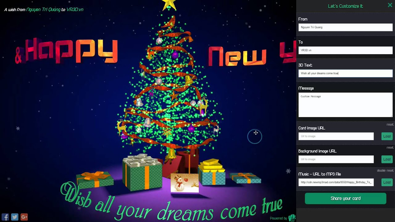 Personalized 3D Interactive Christmas ECards - AWish3D - YouTube